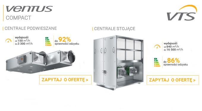 Kompaktowe centrale wentylacyjno-klimatyzacyjne VENTUS Compact
