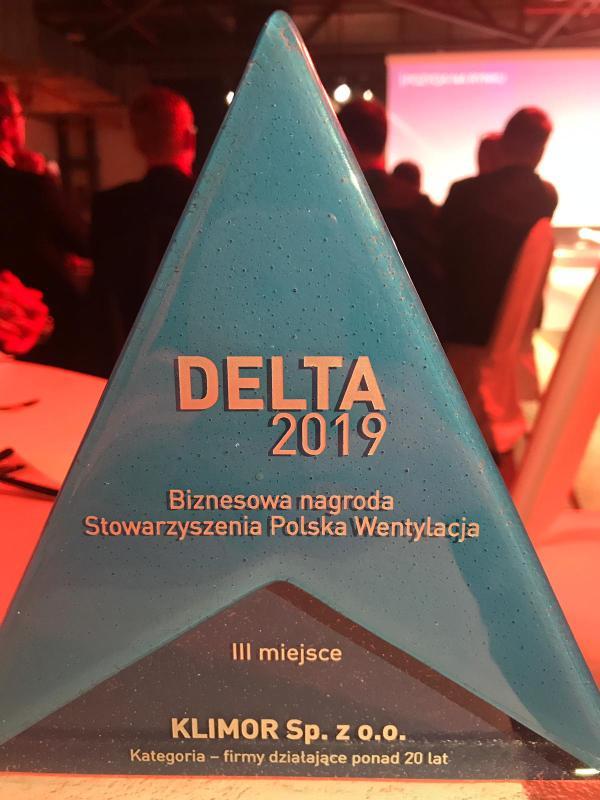 Statuetka DELTA 2019 dla firmy KLIMOR