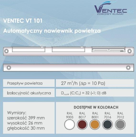 Automatyczny nawiewnik ciśnieniowy Ventec VT 101