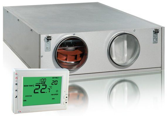 Podwieszana centrala wentylacyjna z odzyskiem ciepła z nagrzewnicą elektryczną VENTS VUT PE EC