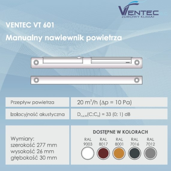 Manualny nawiewnik ciśnieniowy Ventec VT 601
