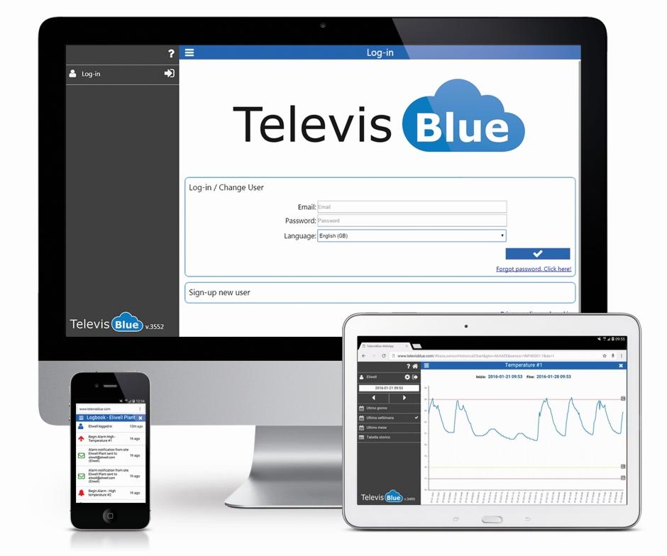 Televis Blue rejestracja w chmurze odczytów urządzeń na obiekcie