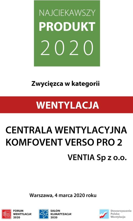 Centrala wentylacyjna KOMFOVENT VERSO Pro 2 od VENTIA Najciekawszym Produktem 2020 r