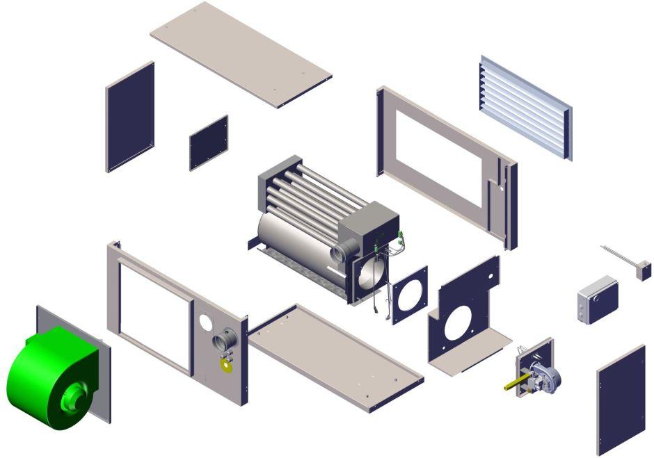 Budowa nagrzewnicy EOLO BL z wentylatorem odśrodkowym AC