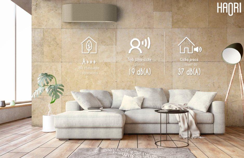 Klimatyzator spełnia najwyższe normy klas energetycznych A+++ i  zapewnia tryb ultra-cichy od 19 dB(A)